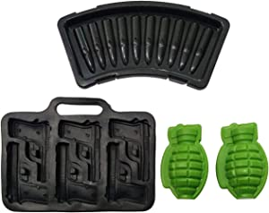 Weapon Series 3D Whisky Ice Cube Molds Bullet Plastic Tray Handgun Grenade Silicone Baking Moulds DIY Fondant Chocolate Cake Decorating Tools Handmade Soap Aromatherapy Gypsum Makers Set of 4