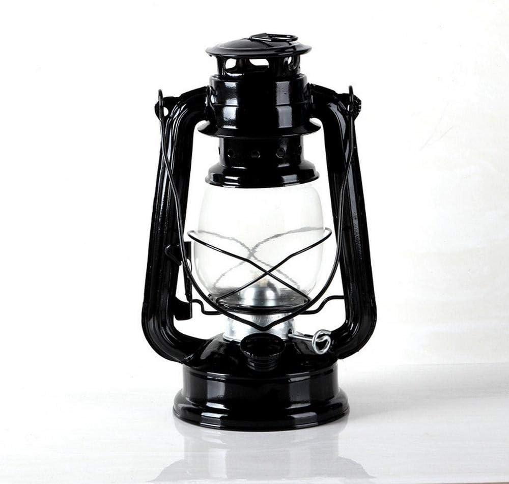 Manualidades Decoración nostálgica de la lámpara de queroseno de hierro vintage antigua adorno de linterna de caballo de vidrio portátil antiguo accesorios de luz para acampar al aire libre-Negro