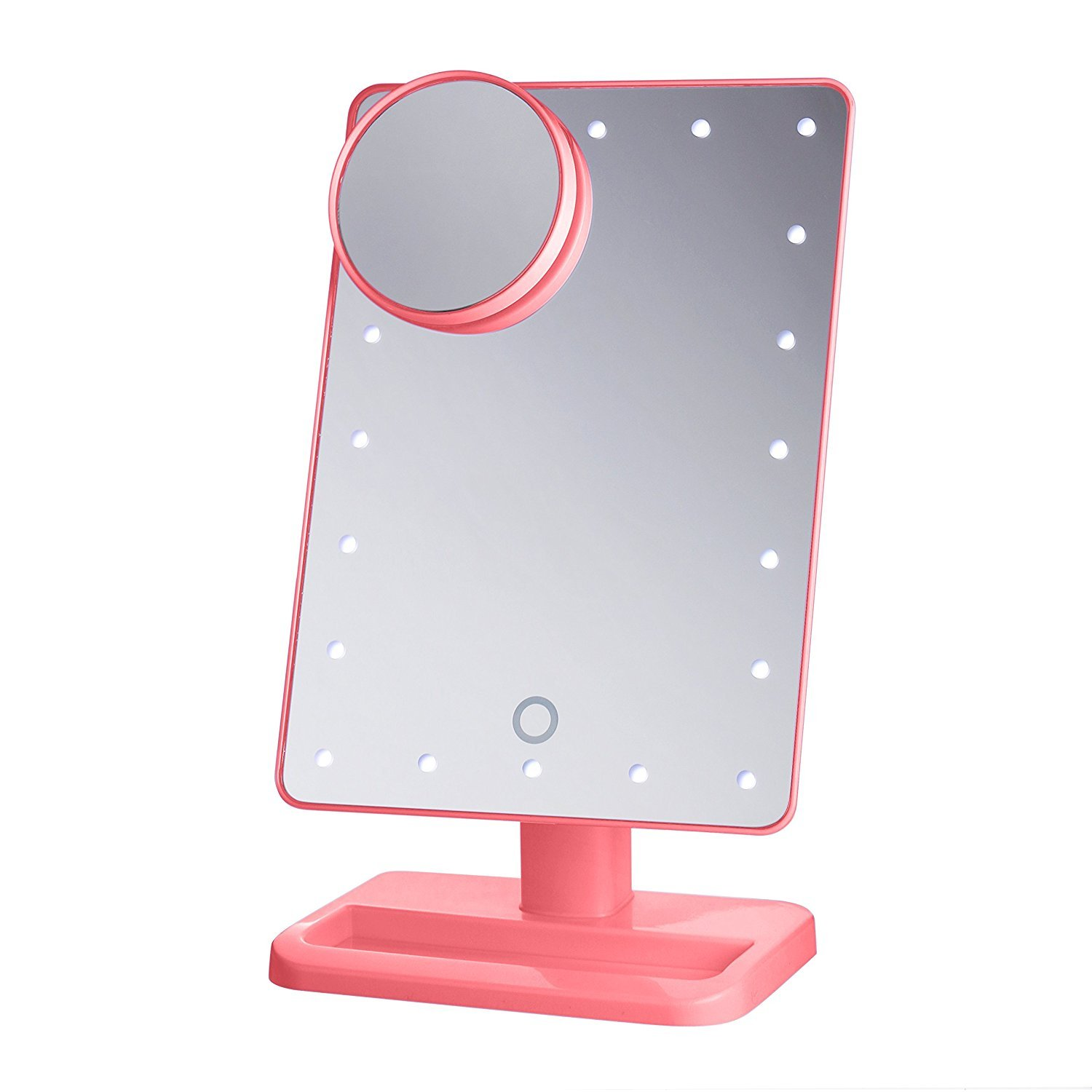 BeautifyBeauties Lighted Makeup Mirror - Vanity Mirror. 20 LED Bulbs, Adjustable Brightness, Detachable 10X Magnification Spot Mirror. Batteries Included (Pink)