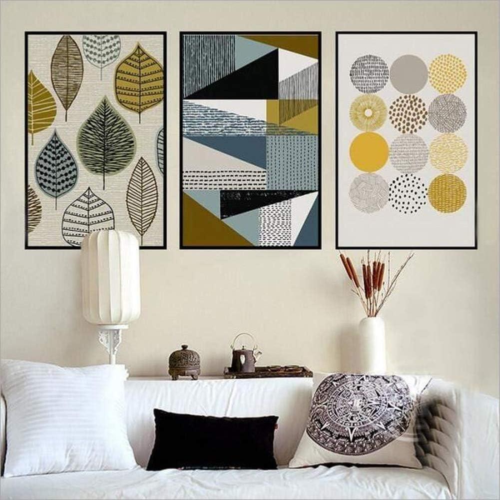 Patrón geométrico de estilo nórdico Impreso en lienzo de Pintura al Óleo Moderna Impresión de la Imagen en la Lona Arte de la Pared para la Sala de Estar,Dormitorio,Decoración del hogar Sin marco