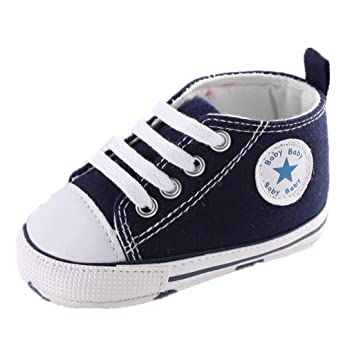 Amazon.com : Baby Shoes Auxma Baby Canvas Sneaker Antiskid Soft Trainer Shoes Prewalker Shoes for 3-18Month (11cm/3-6 M, Blue) : Baby