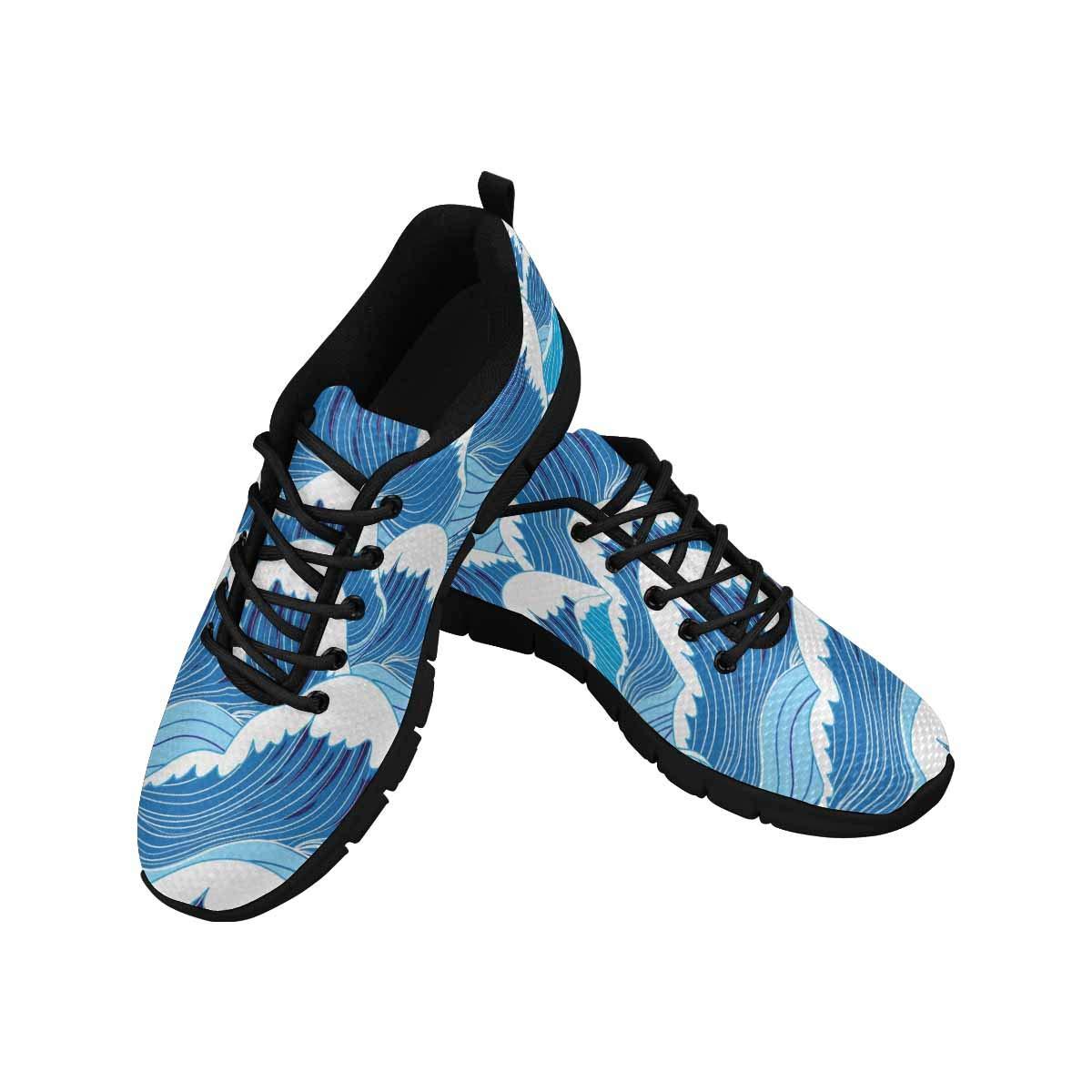 InterestPrint Women's Mesh Cloth Sneakers Lightweight Sport Shoes Ocean Sea Waves