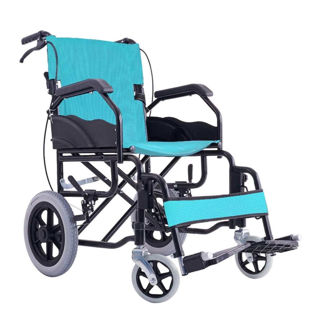 YANGLIYU Wheels Folding Self Propelled Wheelchair,Folding Steel Wheelchair with Footrest and Detachable Armrests (Color : Green)