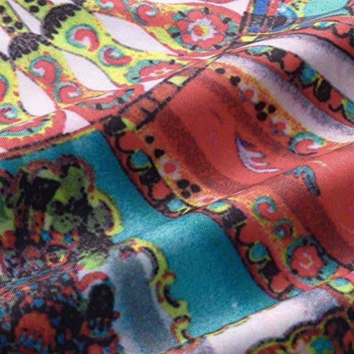 Verano Mangas las Sin Blanco Vendimia Cuello la vestidos de del de Redondo OverDose D Mujeres Impresión pwCqfxRnv