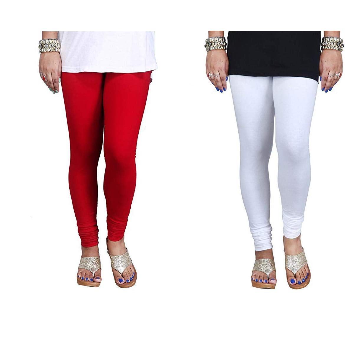 Women Cotton Lycra Full Length Churidar Red And White Legging Free Size Pack Of Two Amazon In Clothing Accessories