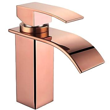 Torneira Cascata Banheiro Quadrada Alta Dourada Rose Paraná