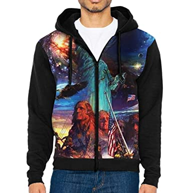 49b0cb0b0b5 Men s Pullover Hood Space America Zip Hoodies Hooded Classic Jackets Coats  at Amazon Men s Clothing store