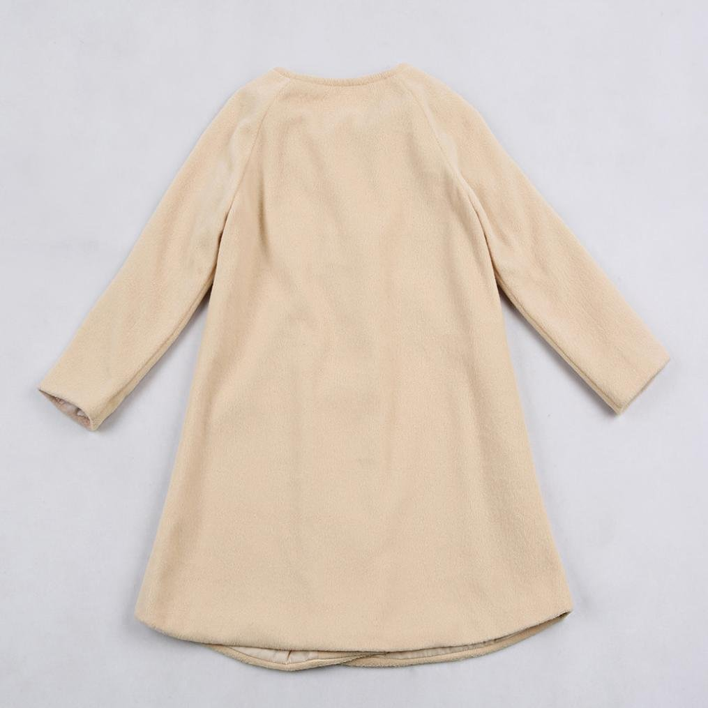 Leegor Baby Girls Button Woolen Jacket Solid Outwear Long Sleeve Cloak Warm Coat