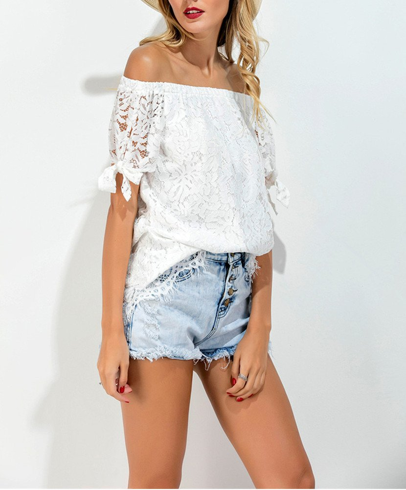 CHIC DIARY Women Off Shoulder Lace Top Short Sleeve T-Shirt Blouse (UK12-14)