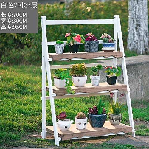Balcony solid wood living room flowerpot frame hundred-step folding flower stand-C by Flower racks