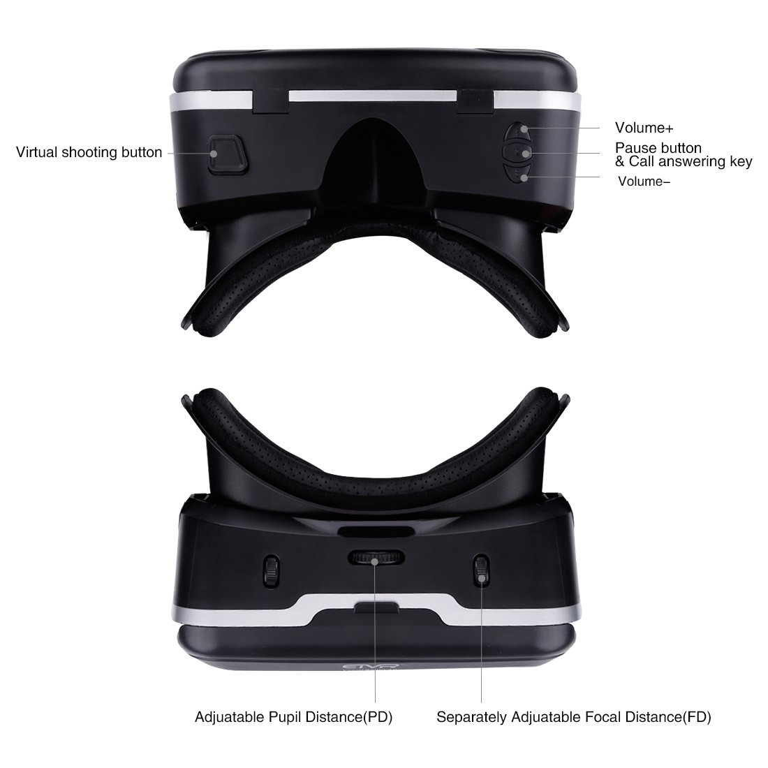 VR Headset with Remote Controller Immersive 3D VR Glasses Virtual Reality Headsetwith Stereo Headphone and Adjustable Headstrap for 3D Movies & VR Games, Fit for 4.7-6.0 inch IOS/Android Smartphone by EXCLEAD (Image #6)