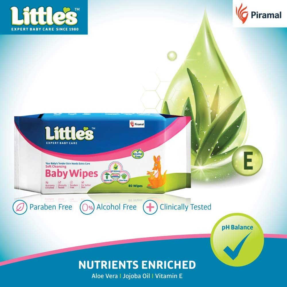 Little's Soft Cleansing Baby Wipes with Aloe Vera, Jojoba Oil and Vitamin E (80 Wipes) Pack of 3 by Little