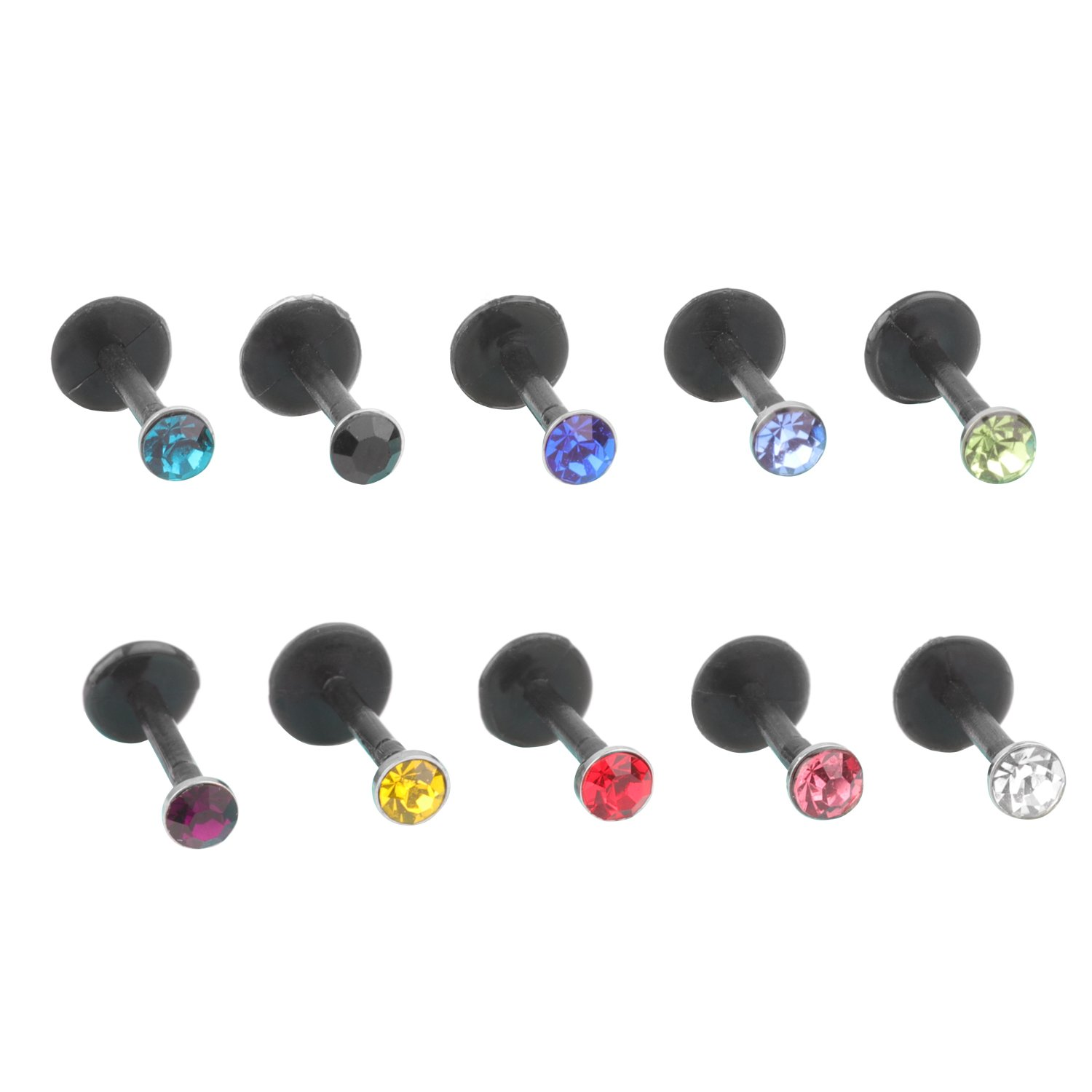 FB 16G 6mm Length Clear UV Flexible Acrylic Labret Lip Ring Tragus Helix Cartilage Earring Stud Barbell Piercing Jewelry……