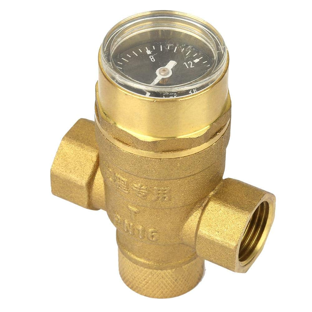 Keenso 1//2 Brass Water Pressure Reducing Valve Regulator Relief Valve With Table Tap Guage Meter Adjustable Water Flow Pressure Reducing Valve