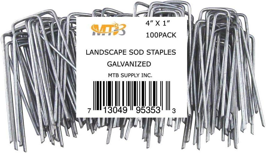"MTB 100 Pack 4"" L x 1"" W 11GA (0.12"") Sod Staples Galvanized Anti-Rust, Garden U Pins Netting Stakes Ground Spikes Landscape Cover U Pegs"
