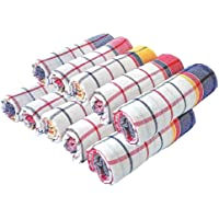 Cleanscent Large Size Kitchen Napkins,Duster,Cleaning Cloth Soft and Multicolour Multipurpose Kitchen Roti Napkin Table Wiper Set of 12 Pcs (50 X 50 cm) Multicolor Napkins (12 Sheets)
