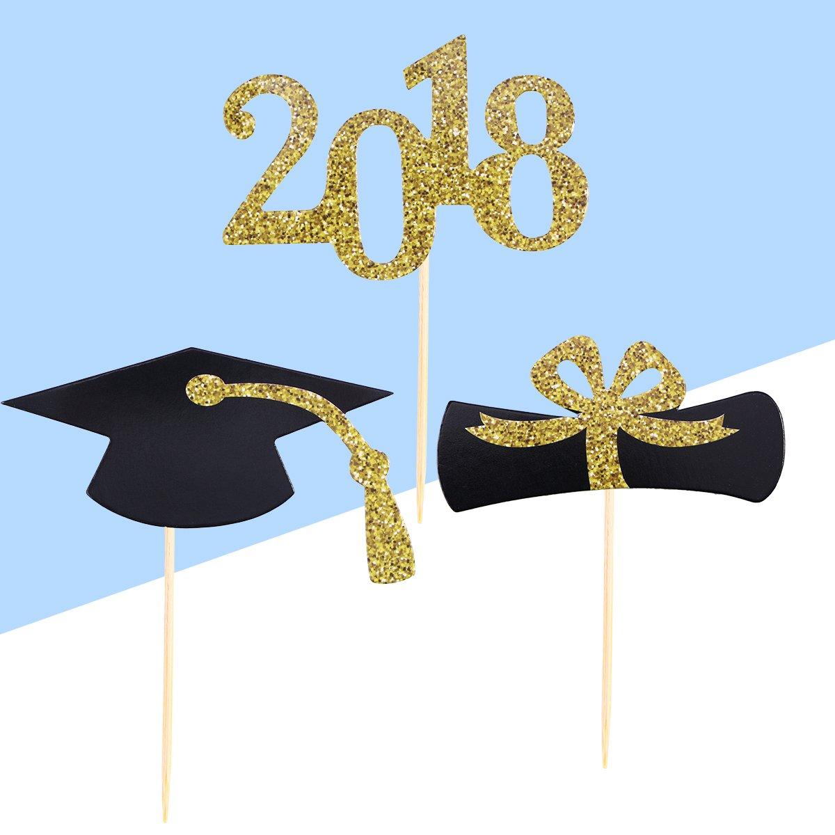 Herramientas de decoraci/ón para la Fuente de la Fiesta de graduaci/ón BESTONZON Graduaci/ón Black Cap Cake Topper Gold Glitter 2018 Primeros de la Magdalena 48pcs