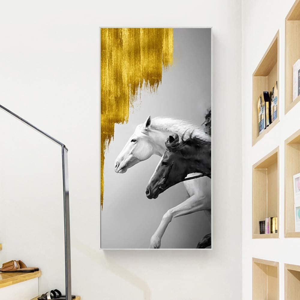 Caballo cuadro animal cartel lienzo moderno pintura decorativa salón mural sin marco pintura A 60x120cm