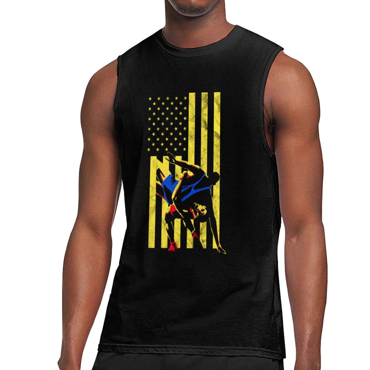 Wrestling USA Sleeveless Tank Tops Shirt Fit Mens