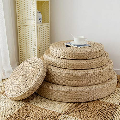 Natural Straw Round Pouf Tatami Pads Japanese Style Handcratfed Eco-Friendly Floor Mats Cushions Meditation Yoga Mat Chair Cushion - 50x50cm by Vnhome