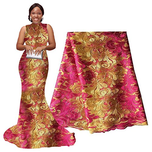 ican Net Lace Fabrics Nigerian French Fabric Embroidered and Rhinestones Guipure Cord Lace (pink and gold) (French Fabric Material)