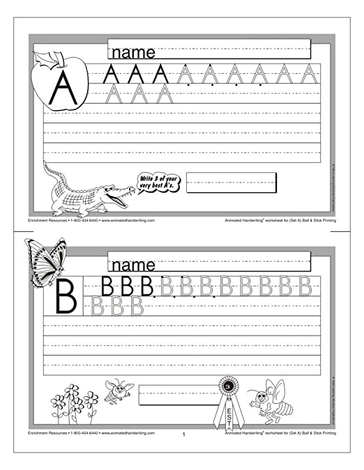 Counting Number worksheets letter trace worksheets : Amazon.com: Animated Handwriting - Ball & Stick: Video-assisted ...