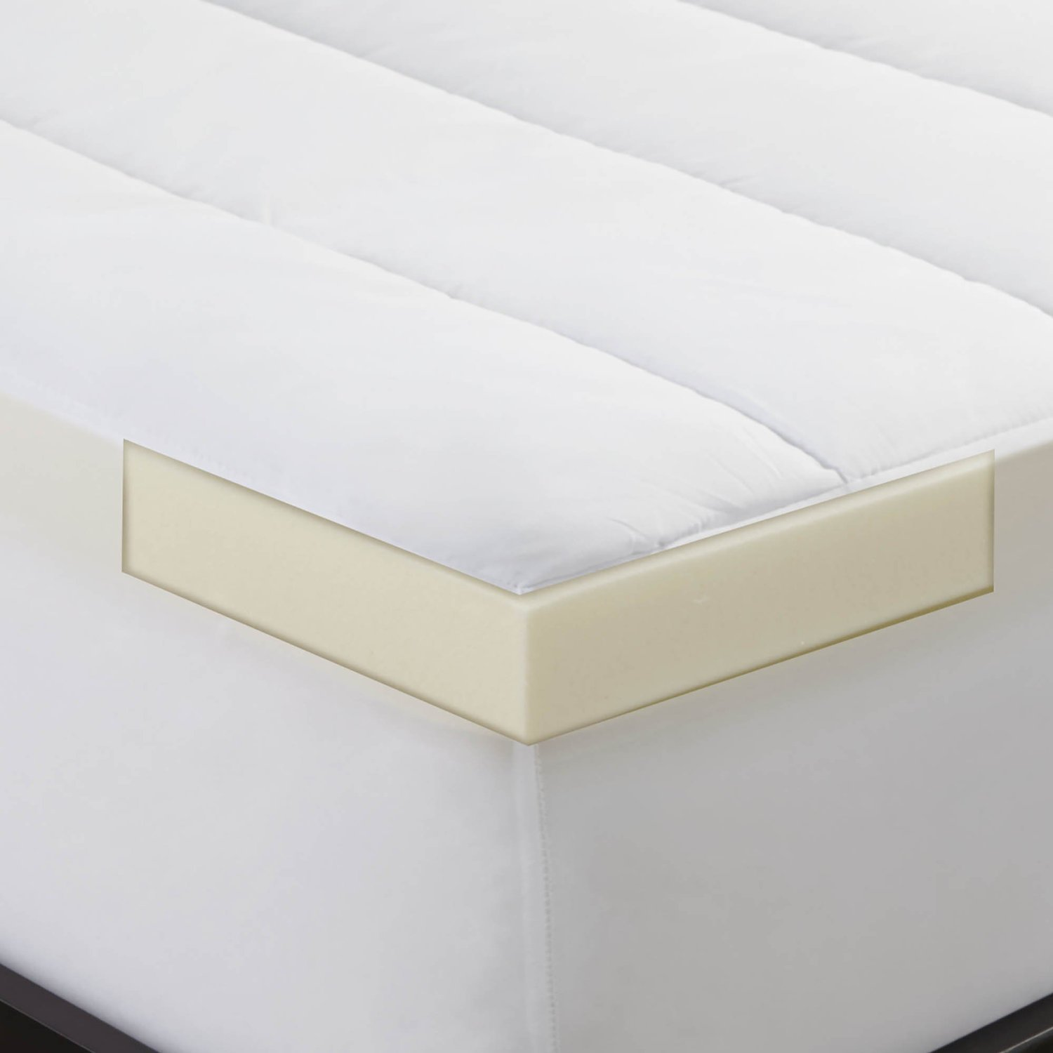 twin xl combo set 2 memory foam bed topper w waterproof mattress pad dorm size ebay. Black Bedroom Furniture Sets. Home Design Ideas