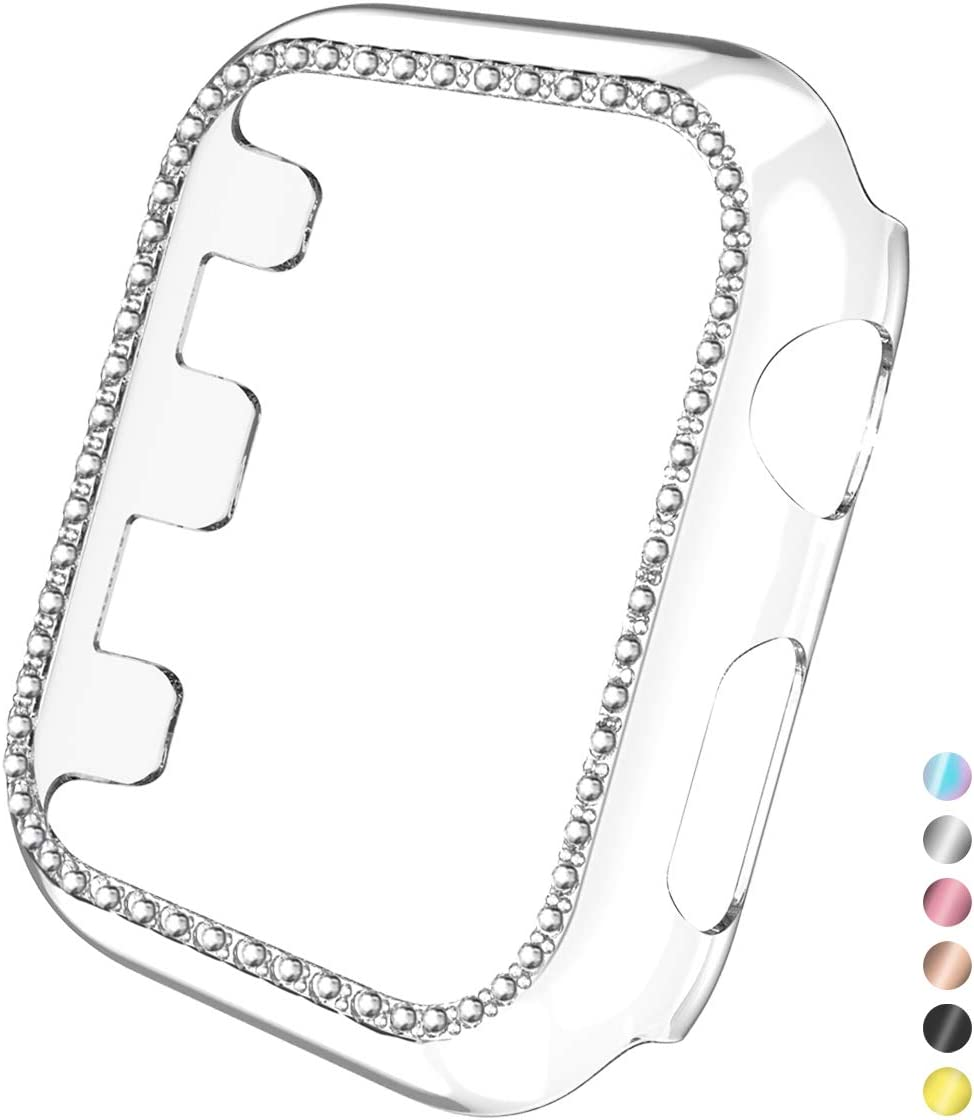 Mastten Case Cover Compatible with Apple Watch 38mm , Clear Bling Diamond Bordered Protector Compatible with Series 3 2 1