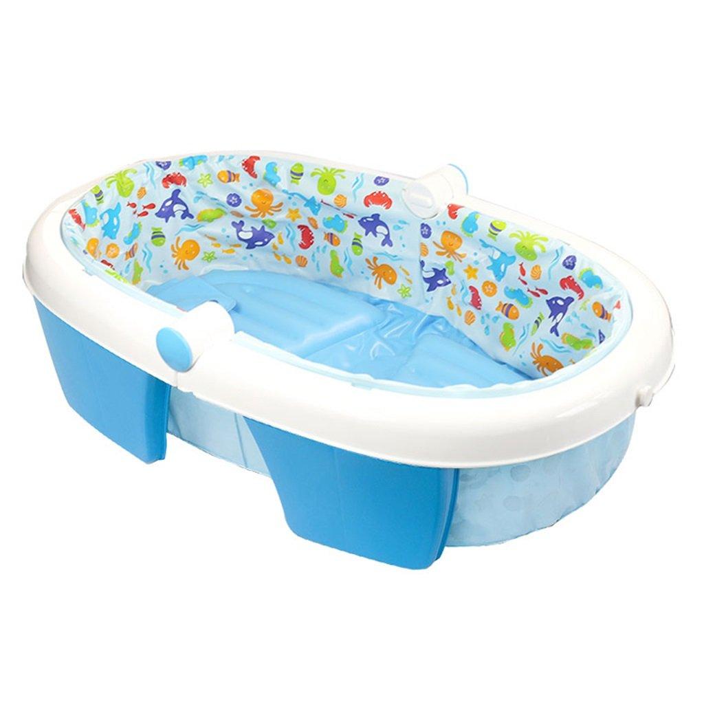 GAOYANG 折りたたみ式ベビーバスタブ、新生児浴槽インフレータブル ベビー折りたたみ式バスタブ ベイビーポータブル スリップが横たわって横たわる (色 : 青)  青 B07FMG8SH1