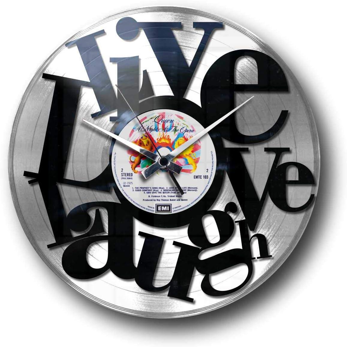 Idea Regalo A Tema Romantico DiscOClock Orologio in Vinile da Parete Lp 33 Giri Silenzioso Live Love Laugh