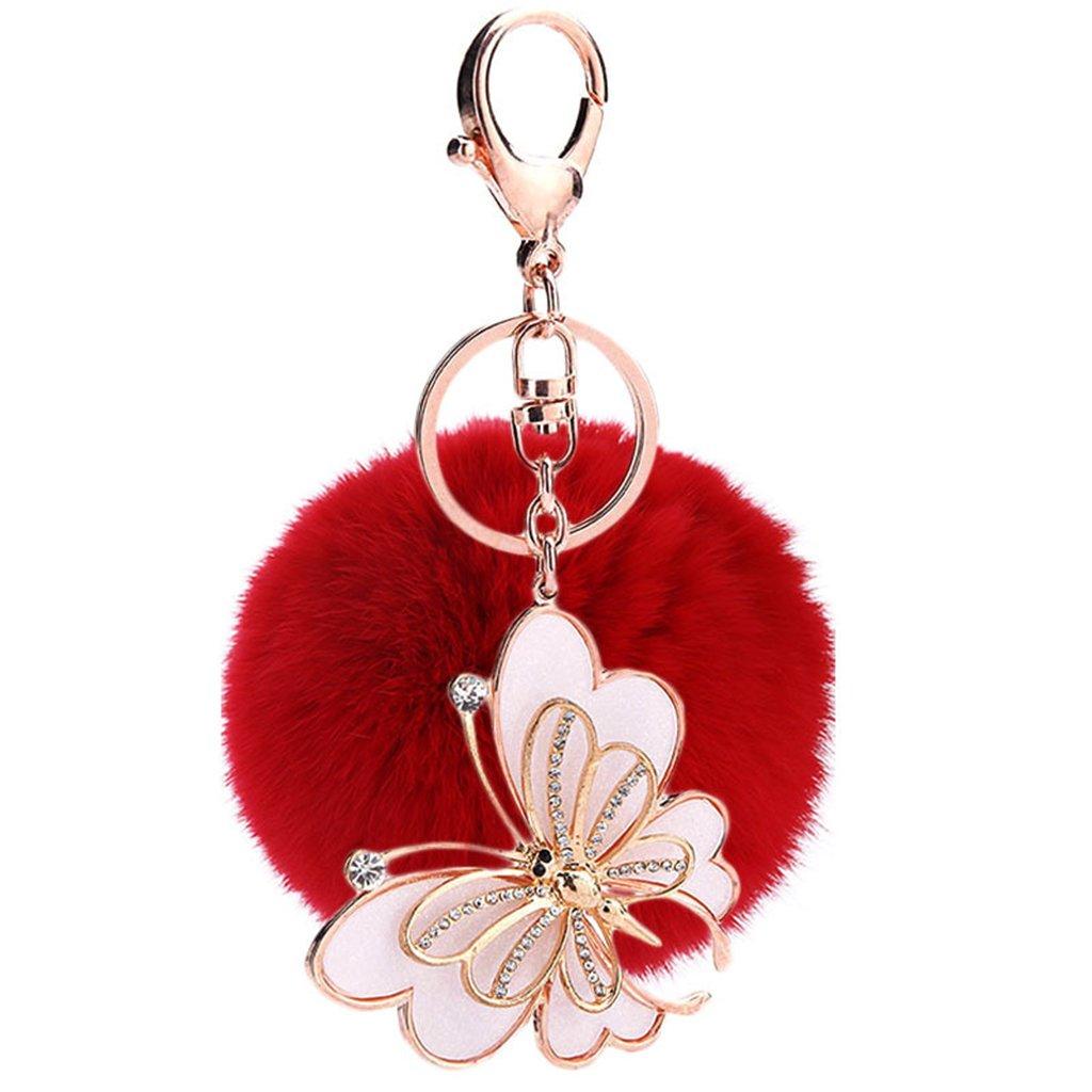 Ayiqi Solid Color Rabbit Plush Ball Butterfly Pendant Keychain Fluffy Handbag Charm Key Ring Car Key Decoration (Pink)