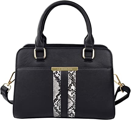 Womens Top Handle Handbags Small Leather Satchel Bag for Work Snakeskin  Pattern Shoulder Handbags with Removal Shoulder Strap, Black: Amazon.co.uk:  Shoes & Bags