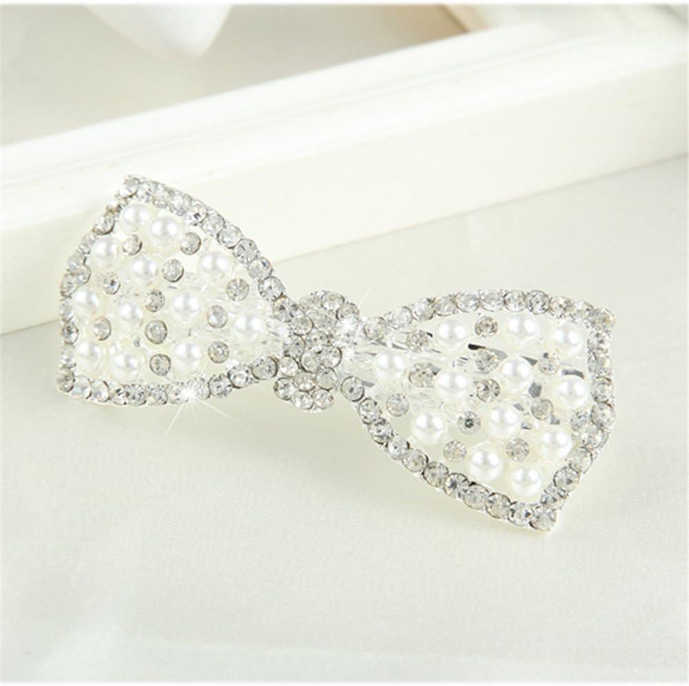 Oro Youmei/® Fashion Crystal Tornante Diamond Pearl Bow Capelli Barrette per Le Donne E Le Ragazze