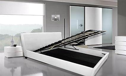 Frizzo letto contenitore matrimoniale bianco ecopelle 220x167cm con