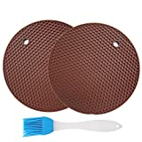 Jiaoyabuy Silicone Pot Holders Set of 2 Jar Opener, Trivets, Large Coaster, Spoon Rest, Flexible, Durable, Heat Resistant Mat with Basting Brushes for Home, Kitchen Utensils, Dining Usage Brown