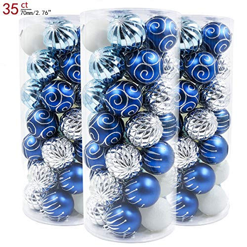 (Valery Madelyn 35ct 70mm Winter Wishes Blue Silver Shatterproof Christmas Ball Ornaments Decoration,Themed with Tree Skirt(Not)