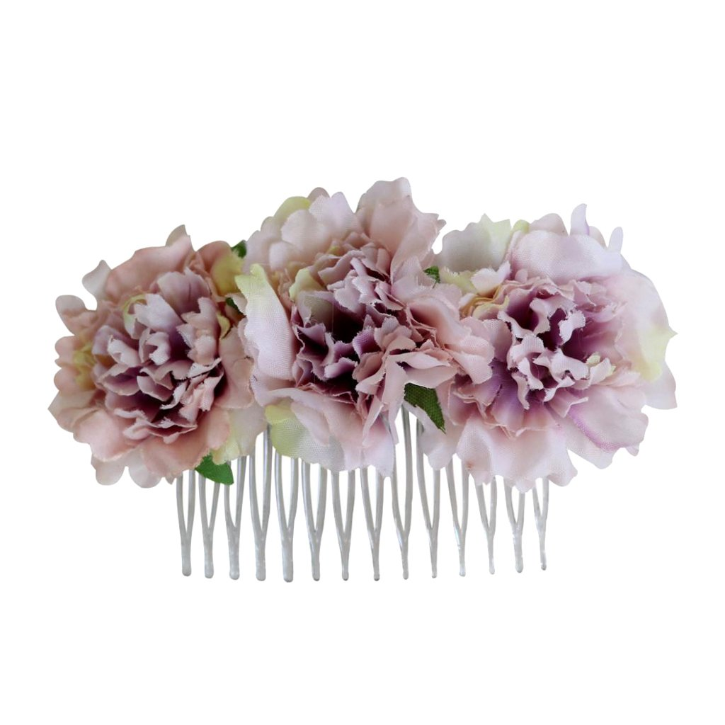 Homyl 1 Piece Stylish Hair Comb with 3 Fabric Carnation Flowers Elegant Lady Bridal Hair Accessories - Ash Pink, as described