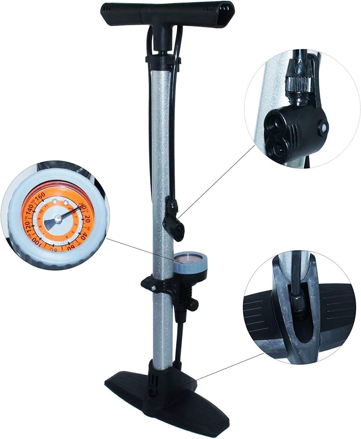 Completamente Port/átil KMTSTYLE Bomba Inflador de Suelo para Bicicleta con Man/ómetro Profesional Compatible con v/álvulas Presta y Schrader.
