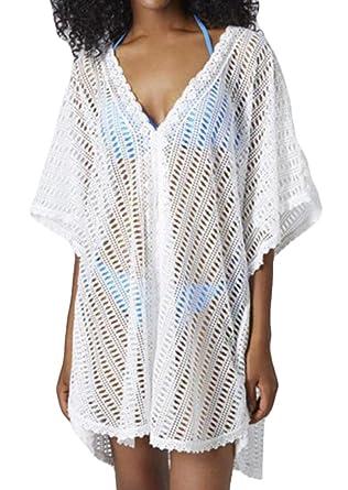 734984b43b Nanquan Women NQ Womens Bathing Suit Cover up Beach Bikini V-Neck Swimwear  Crochet Dress