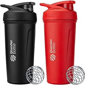 BlenderBottle 24 Ounce Strada Insulated Stainless Steel Protein Shaker Bottle - Red and Black Combo - Double Wall Vacuum Insulation Keeps Drinks Cold for 24 Hours