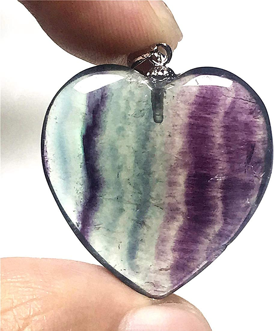 DUOVEKT Natural Heart Fluorite Crystal Necklace Pendant Jewelry for Woman Man 25x8mm Beads 925 Silver Gemstone AAAAA