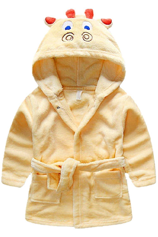Toddler kids Hooded Plush Robe Animal Fleece Bathrobe Children Pajamas Sleepwear