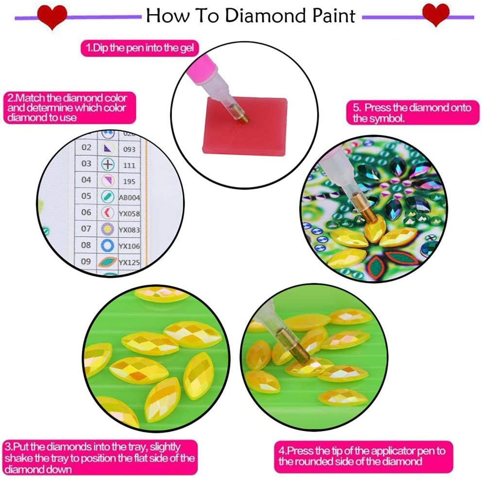 fourseasons Lesezeichen 5D DIY Diamant-Malerei Kunst Lesezeichen Leder Quaste Seitenmarker Geschenk Diamond Painting Bookmark