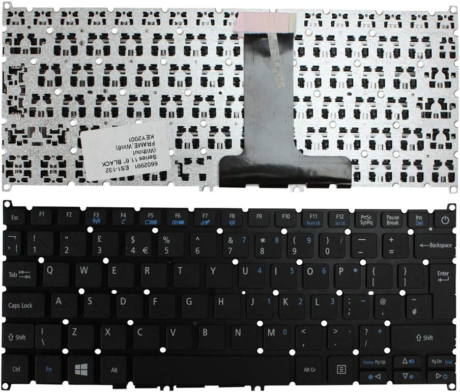 Keyboards4Laptops UK Layout Black Windows 8 Laptop Keyboard Compatible with Acer Aspire ES1-132