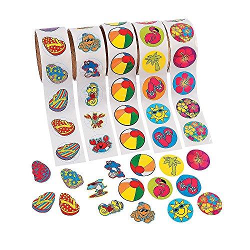 FX Inc. 1000 (10 Rolls) TROPICAL Stickers/HIBISCUS/FLIP FLOP/BEACH BALL/SEA CREATURES/LUAU PARTY Theme/FAVORS/DECOR by FX Inc. (Image #1)
