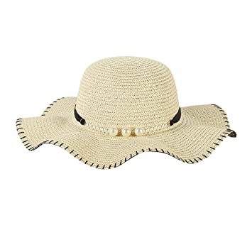 9ee4a62220f Effulow Women Fashion Laides Wide Brim Pearl Tape Straw Hat Pearl  Decoration Beach Sun Foldable Fit