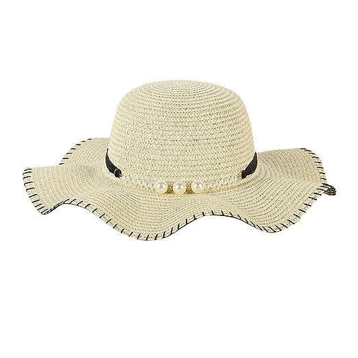 6b792978 XILALU Women Big Wide Brim Straw Hat Pearl Decoration Beach Sun Foldable  Cap Summer Flap Fedora Cap Beige at Amazon Women's Clothing store: