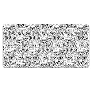 Dog License Plate by Ambesonne, Cute Monochrome Trace Sketch Pugs Bulldog Terrier with Glasses and Hats Hipster Attire, High Gloss Aluminum Novelty Plate, 5.88 L X 11.88 W Inches, Black White