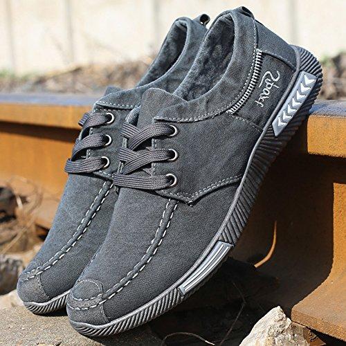 Hibote Hommes Chaussure à Lacets Casual Printemps Automne Baskets Basse Confortable Respirant Sport Chaussures en Toile
