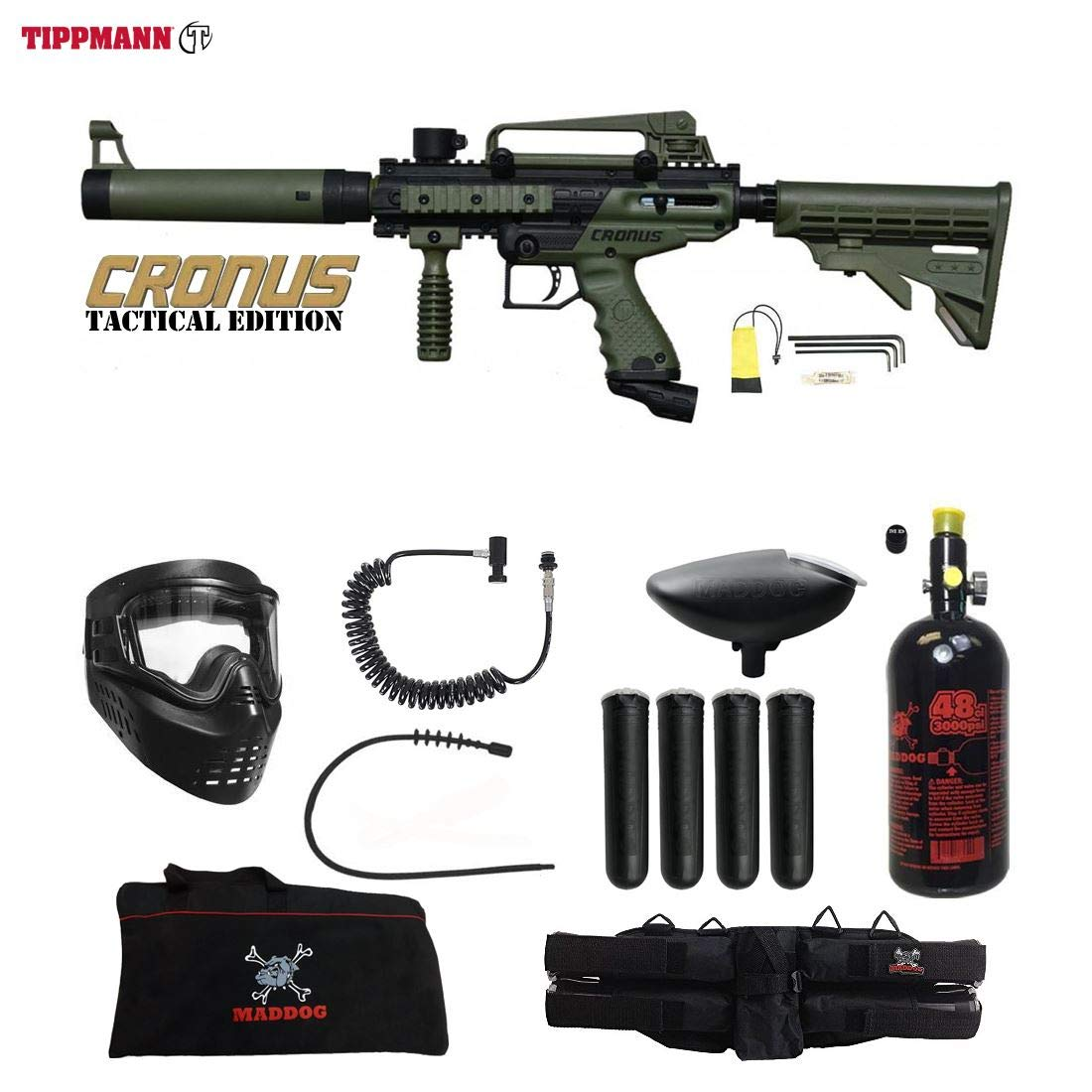 Maddog Tippmann Cronus Tactical Specialist HPA Paintball Gun Package - Black/Olive by Maddog